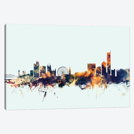 Manchester, England, United Kingdom On Blue Canvas Print #MTO335} by Michael Tompsett Canvas Artwork