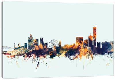 Skyline Series: Manchester, England, United Kingdom On Blue Canvas Print #MTO335