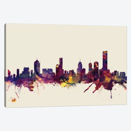 Melbourne, Australia On Beige Canvas Print #MTO336} by Michael Tompsett Canvas Artwork