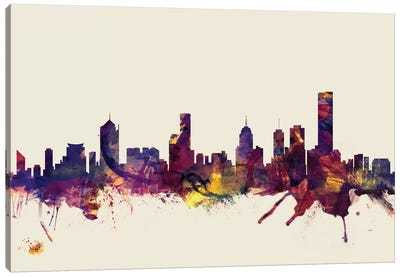 Skyline Series: Melbourne, Australia On Beige Canvas Print #MTO336