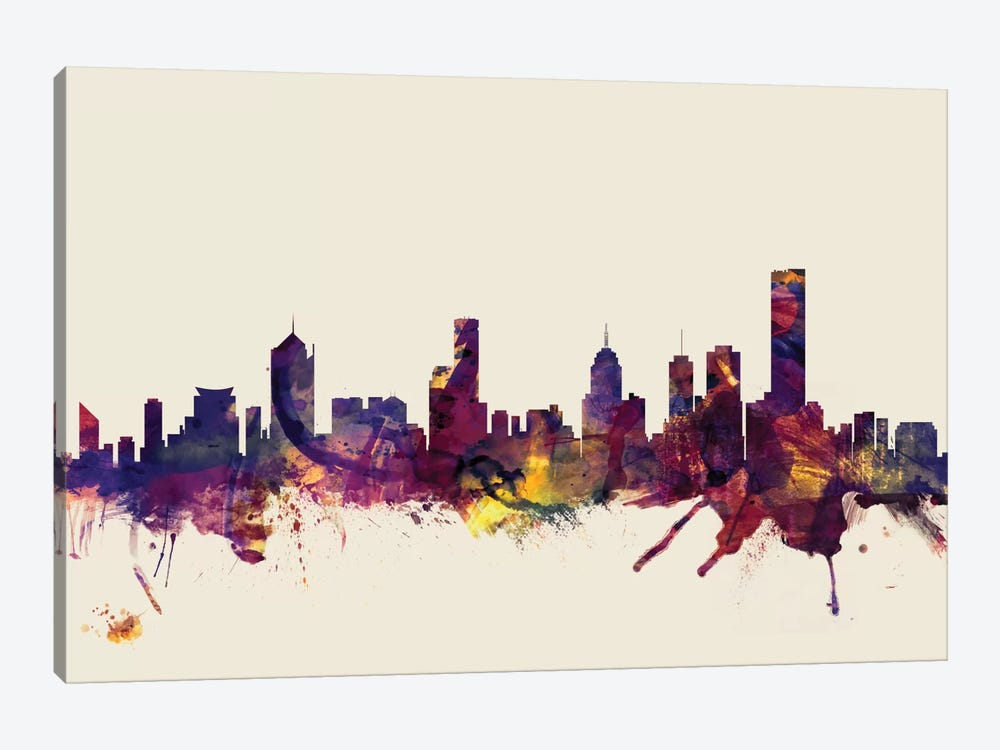 Skyline Series: Melbourne, Australia On Beige by Michael Tompsett 1-piece Canvas Artwork