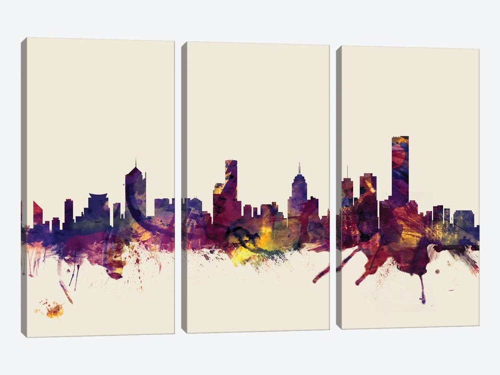 Skyline Series: Melbourne, Australia On Beige by Michael Tompsett 3-piece Canvas Artwork