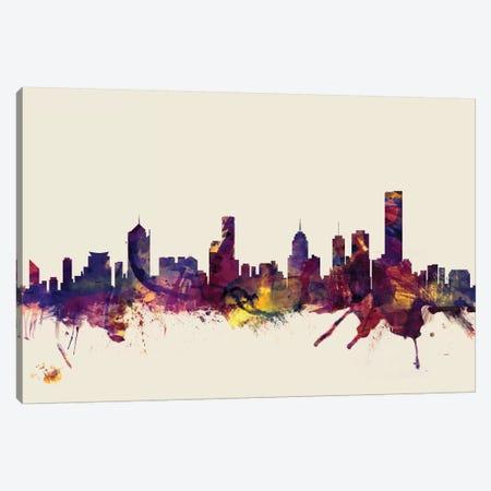 Melbourne, Australia On Beige Canvas Print #MTO336} by Michael Tompsett Canvas Artwork