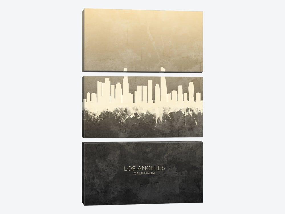 Los Angeles California Skyline Taupe by Michael Tompsett 3-piece Canvas Print