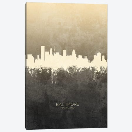 Baltimore Maryland Skyline Taupe Canvas Print #MTO3377} by Michael Tompsett Canvas Art