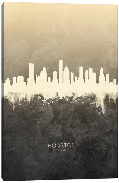 Houston Texas Skyline Taupe Canvas Art Print