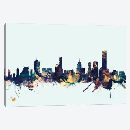 Melbourne, Australia On Blue Canvas Print #MTO337} by Michael Tompsett Canvas Art