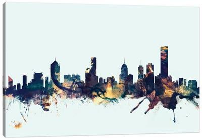 Skyline Series: Melbourne, Australia On Blue Canvas Print #MTO337