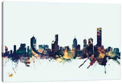 Melbourne, Australia On Blue Canvas Art Print