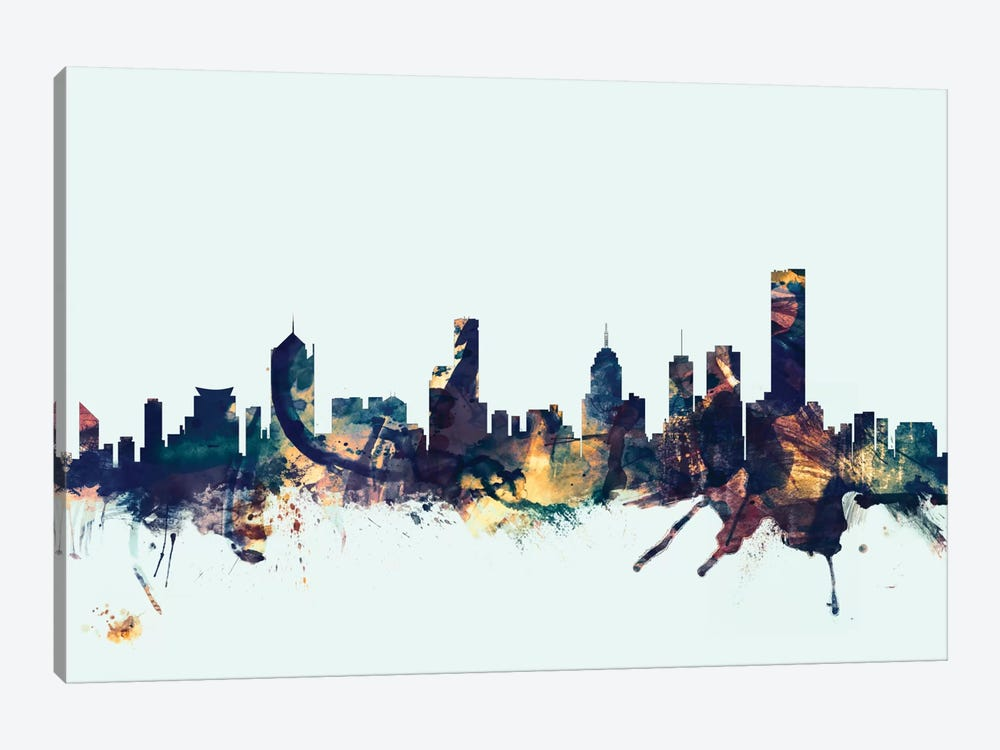 Skyline Series: Melbourne, Australia On Blue by Michael Tompsett 1-piece Art Print
