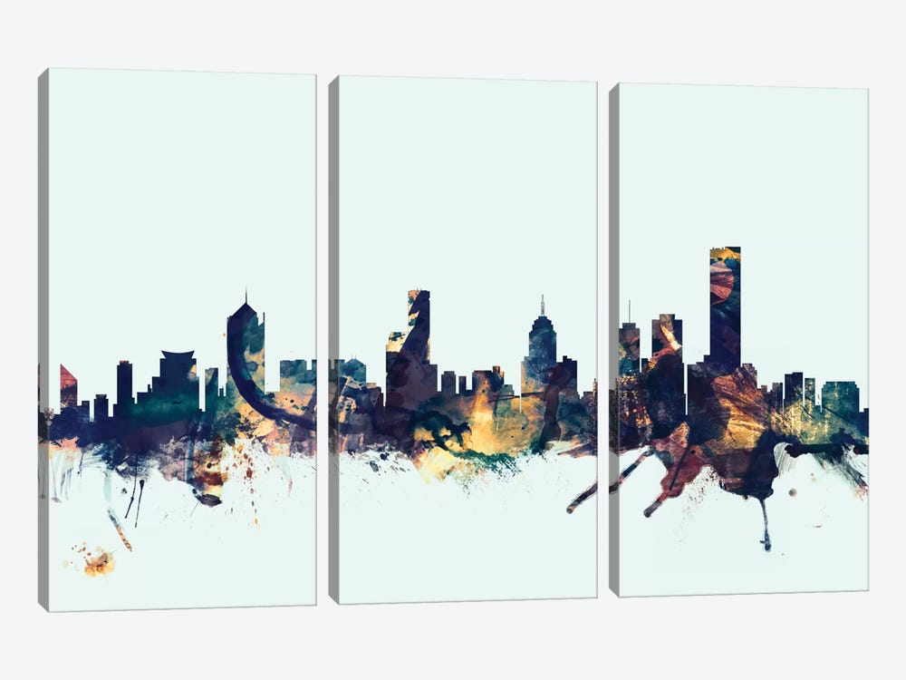Melbourne, Australia On Blue by Michael Tompsett 3-piece Canvas Print