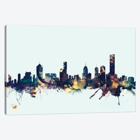 Melbourne, Australia On Blue Canvas Print #MTO337} by Michael Tompsett Canvas Art