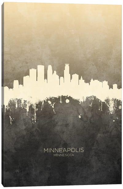 Minneapolis Minnesota Skyline Taupe Canvas Art Print