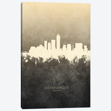 Indianapolis Indiana Skyline Taupe Canvas Print #MTO3386} by Michael Tompsett Canvas Art Print