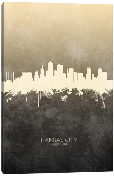 Kansas City Missouri Skyline Taupe Canvas Art Print