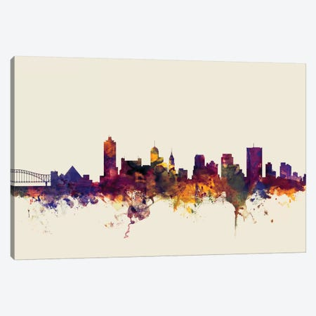 Memphis, Tennessee, USA On Beige Canvas Print #MTO338} by Michael Tompsett Art Print