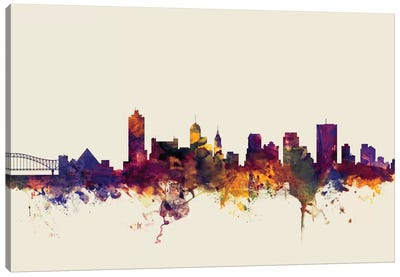 Skyline Series: Memphis, Tennessee, USA On Beige Canvas Art Print