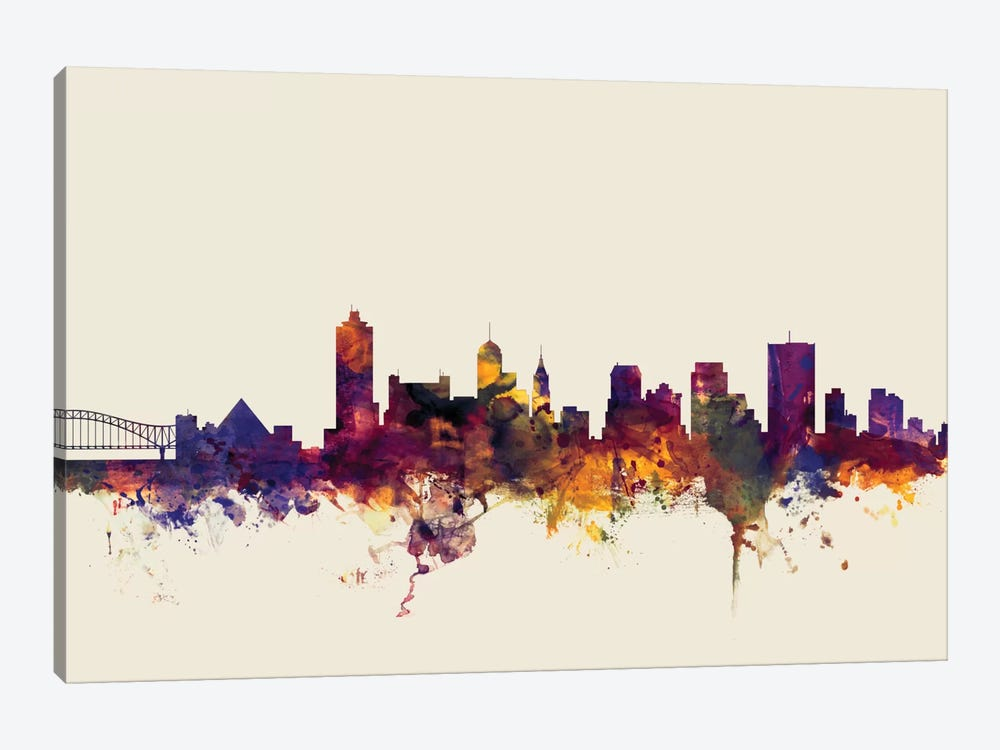 Memphis, Tennessee, USA On Beige 1-piece Canvas Wall Art