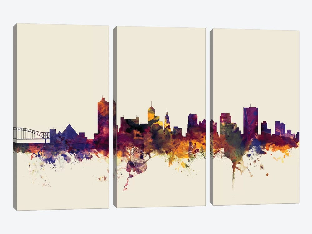 Memphis, Tennessee, USA On Beige by Michael Tompsett 3-piece Canvas Wall Art