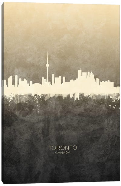 Toronto Canada Skyline Taupe Canvas Art Print