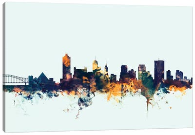 Skyline Series: Memphis, Tennessee, USA On Blue Canvas Art Print