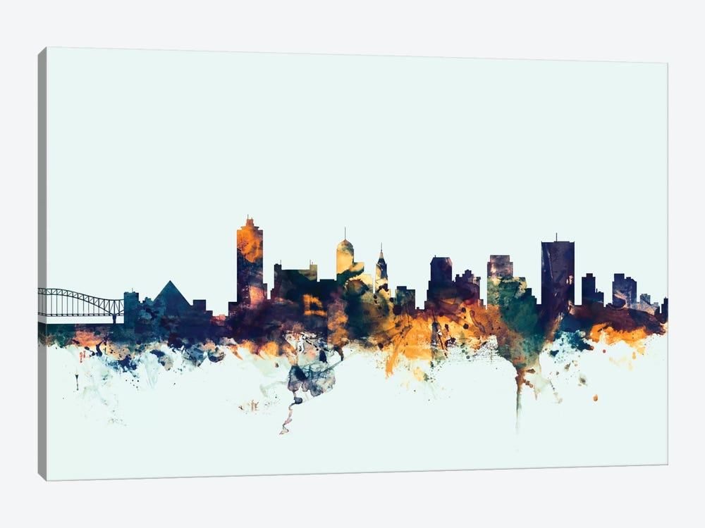 Skyline Series: Memphis, Tennessee, USA On Blue by Michael Tompsett 1-piece Art Print