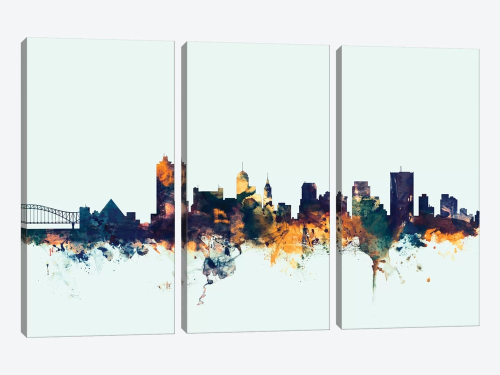 Skyline Series: Memphis, Tennessee, USA On Blue by Michael Tompsett 3-piece Art Print