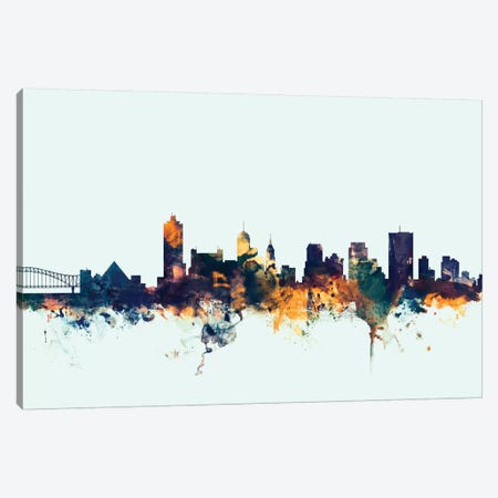 Memphis, Tennessee, USA On Blue Canvas Print #MTO339} by Michael Tompsett Canvas Art Print