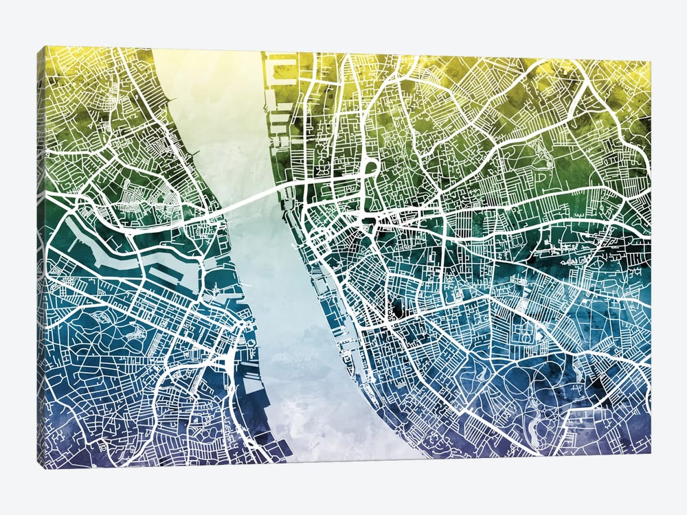 Color Gradient Urban Street Map Series: Liverpool, England, United Kingdom 1-piece Canvas Art Print