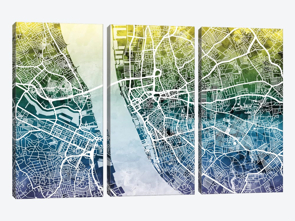 Color Gradient Urban Street Map Series: Liverpool, England, United Kingdom 3-piece Art Print