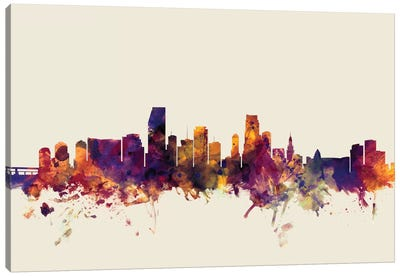 Skyline Series: Miami, Florida, USA On Beige Canvas Art Print