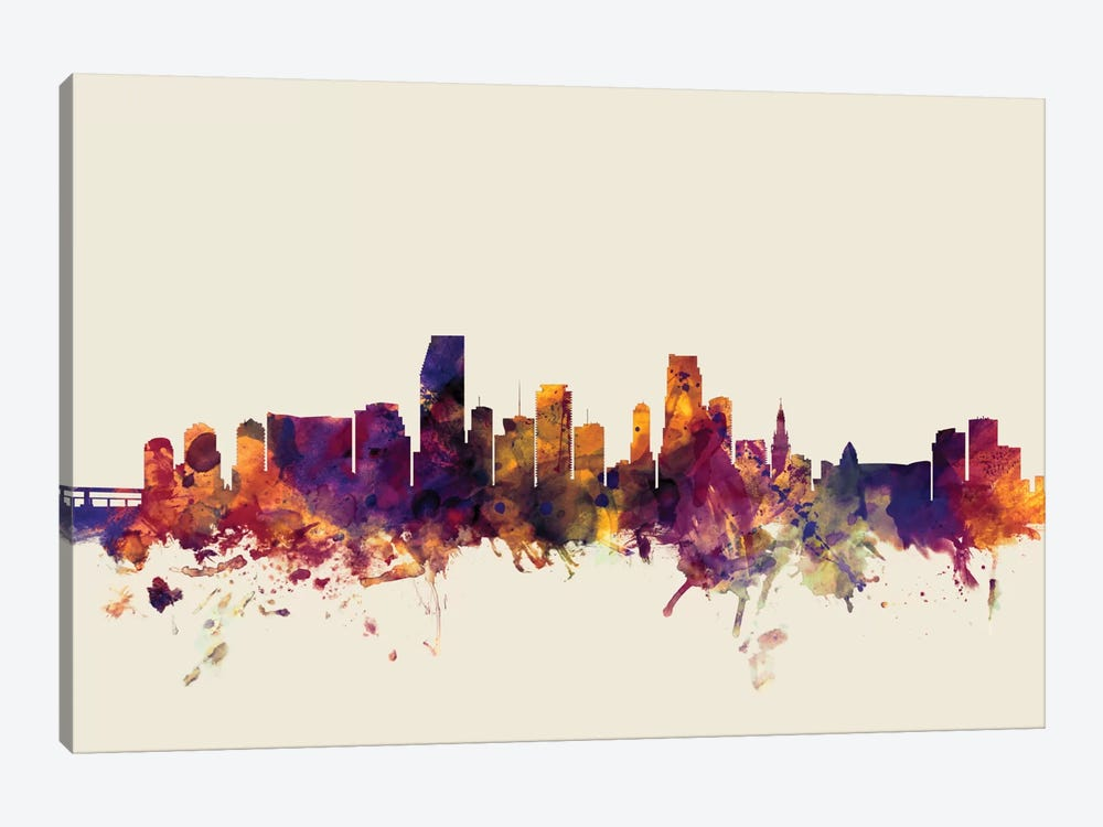 Miami, Florida, USA On Beige by Michael Tompsett 1-piece Canvas Print