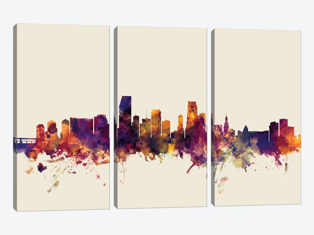 Miami, Florida, USA On Beige by Michael Tompsett 3-piece Art Print