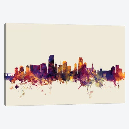 Miami, Florida, USA On Beige 3-Piece Canvas #MTO340} by Michael Tompsett Canvas Art