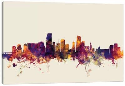 Miami, Florida, USA On Beige Canvas Art Print