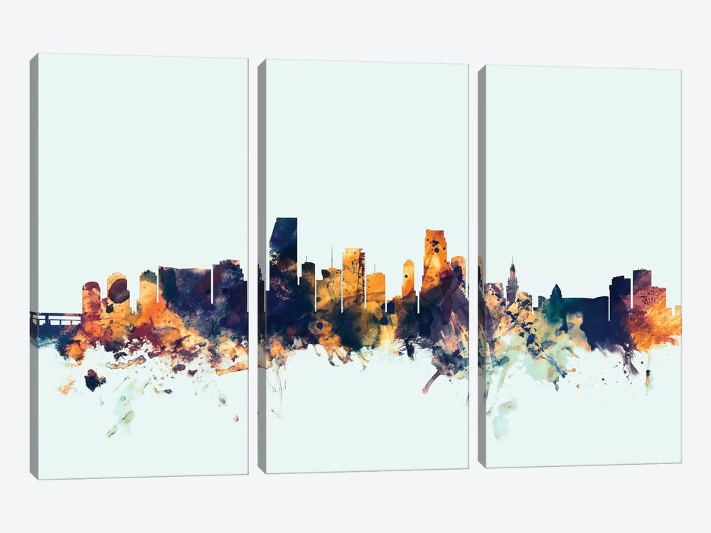 Miami, Florida, USA On Blue by Michael Tompsett 3-piece Canvas Artwork