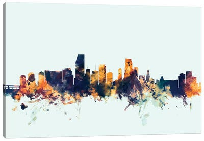 Skyline Series: Miami, Florida, USA On Blue Canvas Art Print