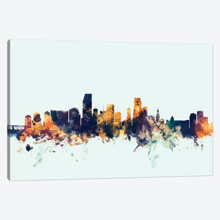 Miami, Florida, USA On Blue Canvas Print #MTO341} by Michael Tompsett Canvas Artwork