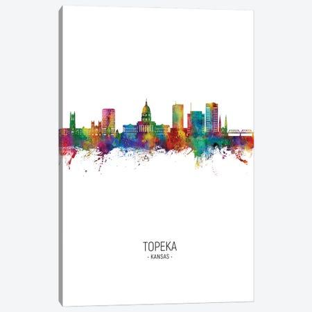 Topeka Kansas Skyline Portrait Canvas Print #MTO3420} by Michael Tompsett Canvas Art Print