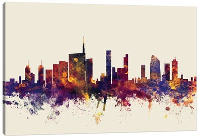 Milan, Italy On Beige Canvas Art Print