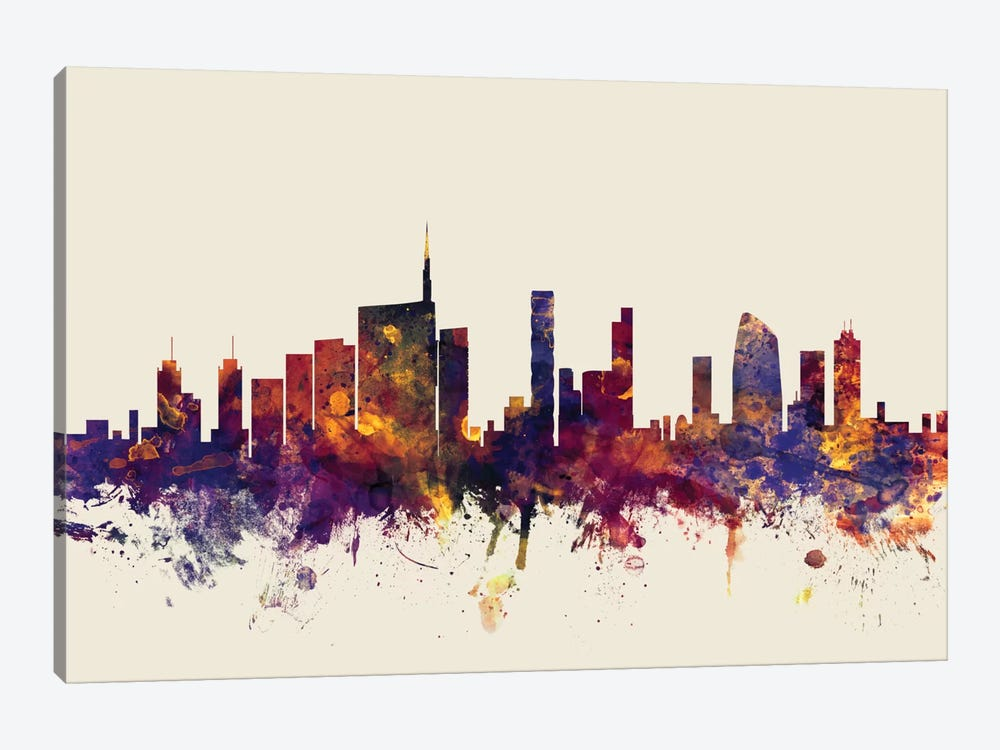 Skyline Series: Milan, Italy On Beige by Michael Tompsett 1-piece Canvas Art Print