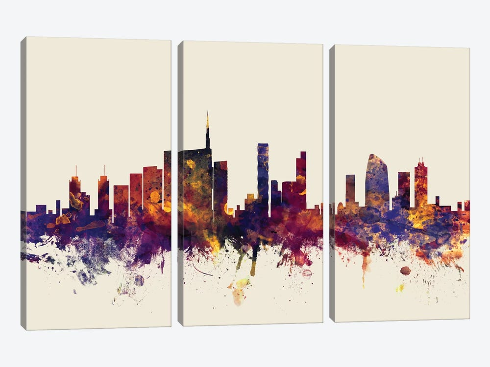Skyline Series: Milan, Italy On Beige by Michael Tompsett 3-piece Canvas Art Print