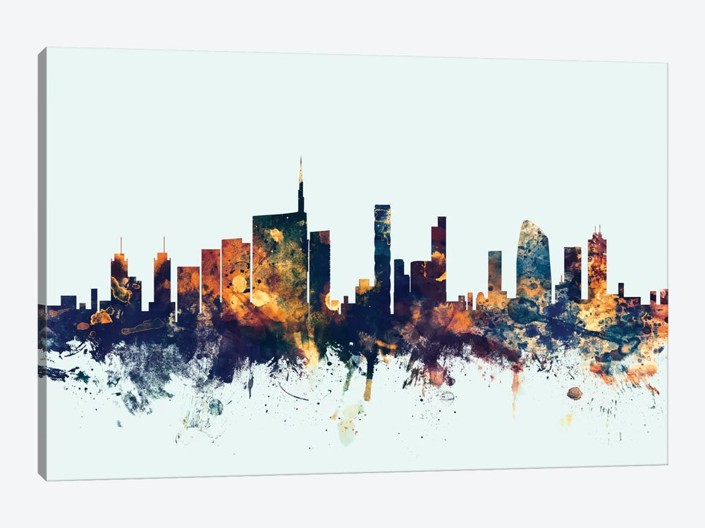 Skyline Series: Milan, Italy On Blue 1-piece Canvas Art