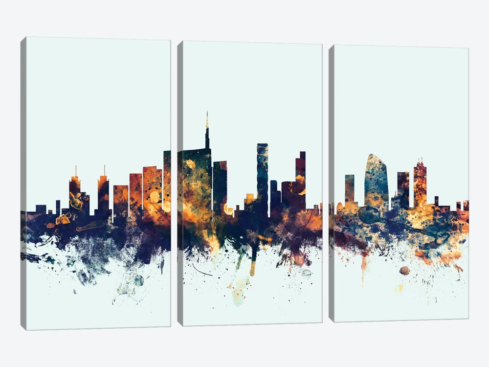 Milan, Italy On Blue by Michael Tompsett 3-piece Canvas Art