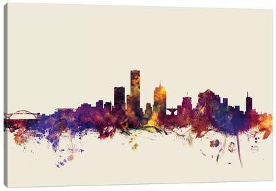 Skyline Series: Milwaukee, Wisconsin, USA On Beige Canvas Print #MTO344