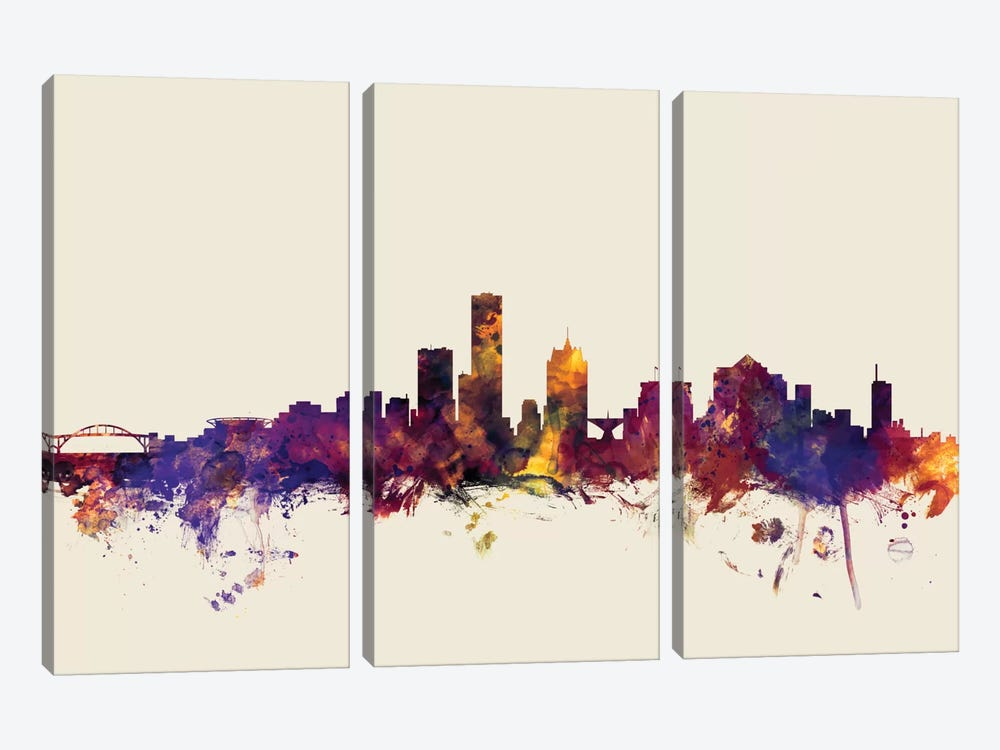 Milwaukee, Wisconsin, USA On Beige by Michael Tompsett 3-piece Canvas Print