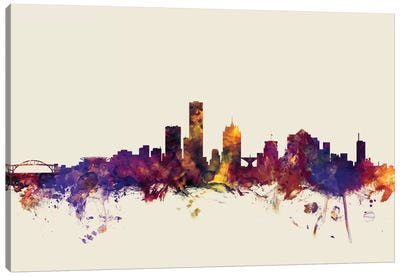 Milwaukee, Wisconsin, USA On Beige Canvas Art Print