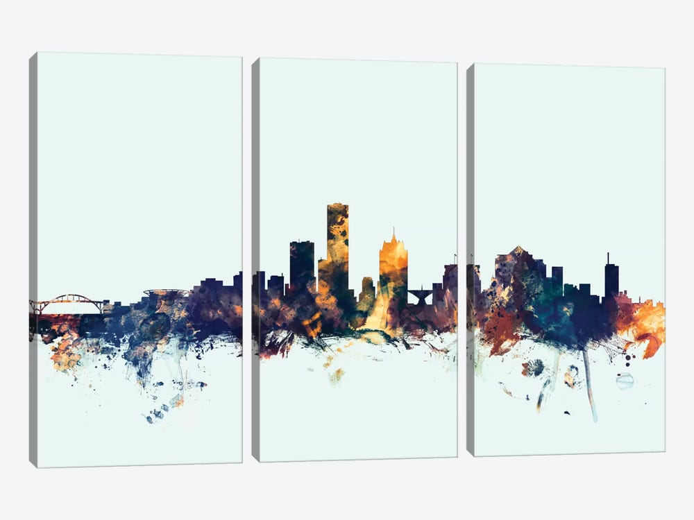 Milwaukee, Wisconsin, USA On Blue by Michael Tompsett 3-piece Canvas Artwork