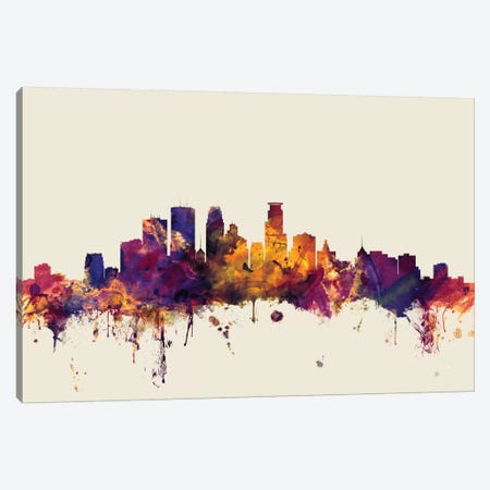 Minneapolis, Minnesota, USA On Beige Canvas Print #MTO346} by Michael Tompsett Art Print