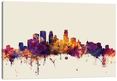 Skyline Series: Minneapolis, Minnesota, USA On Beige Canvas Print #MTO346